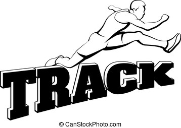 Male Hurdling Over Word Track