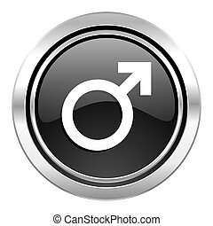 male icon, black chrome button, male gender sign