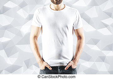 Male in blank white t-shirt
