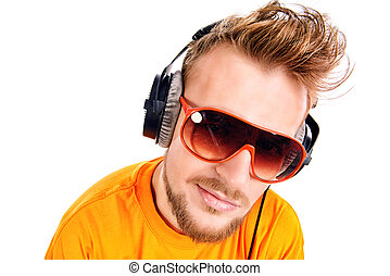 male in headphones