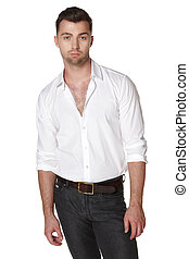 Male in white shirt posing over white background