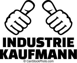 Male industrial clerk thumbs german - Male industrial clerk...