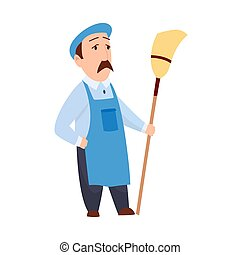 male janitor in uniform mopping floor man cleaner holding mop cleaning service concept full length flat white background.