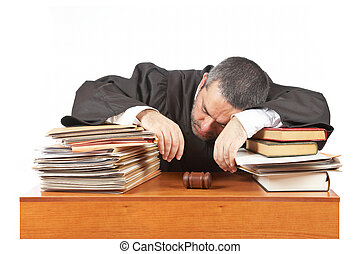 Male judge sleeping over the files - A male judge sleeping...