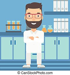 Male laboratory assistant. - A hipster man with the beard ...