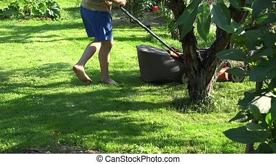 Male landscaper mow grass between flowers and fruit trees in...