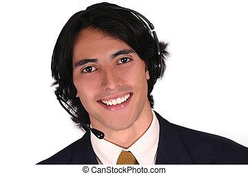 Male Latin Operator - A male latin operator talking by...