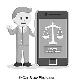 Male lawyer with consultant app