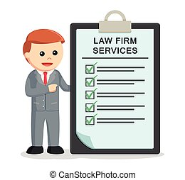 male lawyer with law firm services clipboard