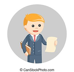 male lawyer with legal documents in circle background