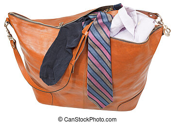 leather handbag with shirt, tie, sock isolated