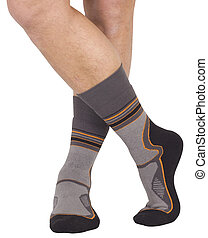 Male legs in socks. Isolated on white background. Clipping...