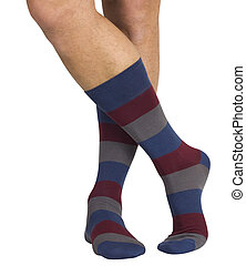 Male legs in socks. Isolated on white background - Male legs...