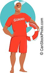 Male lifeguard - Young man in a red lifeguard swimsuit...
