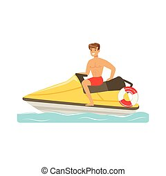 Male lifeguard in red shorts driving by water motorcycle, professional rescuer on the beach vector Illustration