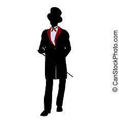Male Magician Illustration Silhouette - Male Magician...