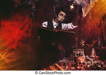 male magician in a lab
