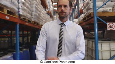 Male manager in a warehouse 4k