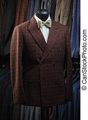 Male Mannequin Formal Wear Fashion Suit Shop Interior, Model In Shopping Retail Store