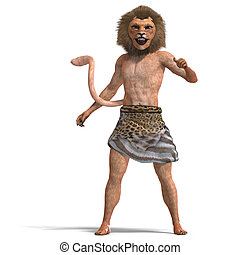 male manticore fantasy creature. 3D rendering with clipping...