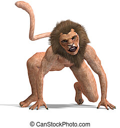 male manticore fantasy creature. 3D rendering with clipping path and shadow over white