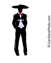 Male Mariachi Illustration Silhouette - Male mariachi...