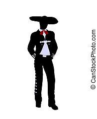 Male Mariachi Illustration Silhouette
