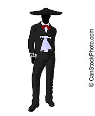 Male Mariachi Silhouette Illustration