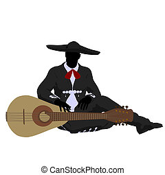 Male Mariachi Silhouette Illustration - Male mariachi with a...