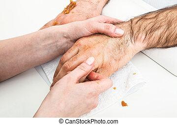 male massage hand