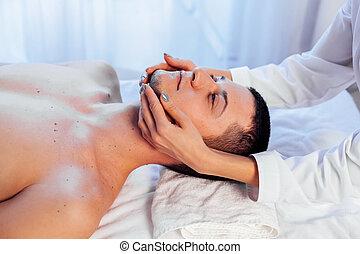 male masseur doing Massage Spa health care