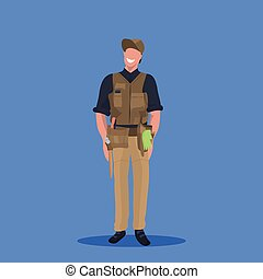 male master or repairman mechanic repair service worker professional occupation concept happy man in uniform cartoon character full length flat blue background