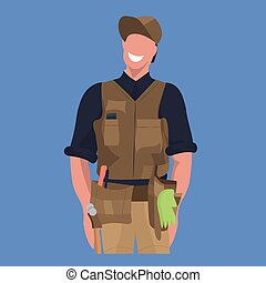 male master or repairman mechanic repair service worker professional occupation concept happy man in uniform cartoon character portrait flat blue background