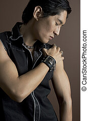 Male Model 5 - An asian male model in a black top and...