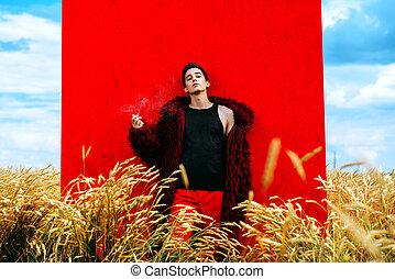 male model in a field