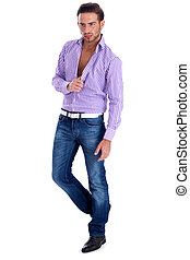 Male model in casual wear on a isolated white background