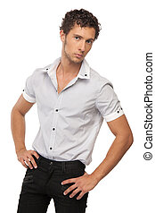 male model in shirt over white