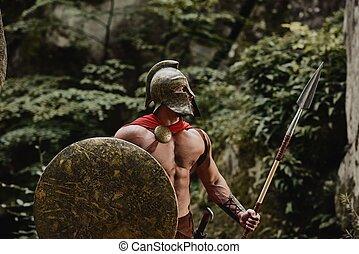 Male model in warrior armor