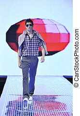 male model on fashion show