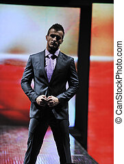 male model on fashion show - handsome man male model at...