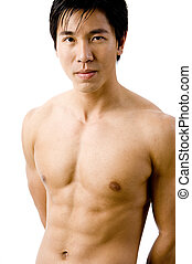 Male Model - A muscular chinese male model on white...
