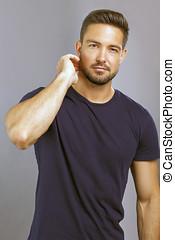 Male model - Handsome male model, a vertical portrait