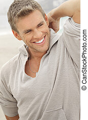 Male model smile - Outdoor natural portrait of a great...