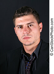 Male Model - Male model in studio against black background