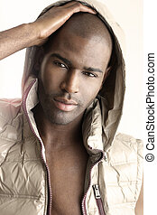 Male model - Close highly detailed fashion portrait of a...