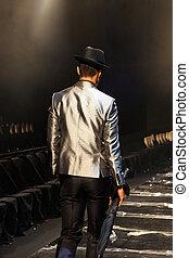 Male model on the catwalk