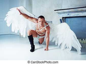 Man Angel Wings Male Model Big White Wearing Dance Costume