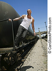 Male modell posing