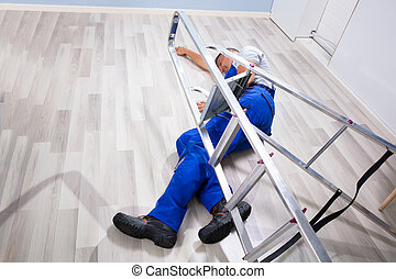 Male Mover Falling From Ladder