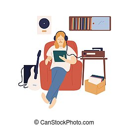 Male music lover in headphones listening audio records on retro player vector flat illustration. Hipster guy sitting on armchair surrounded by musical equipment and vinyl plates isolated on white